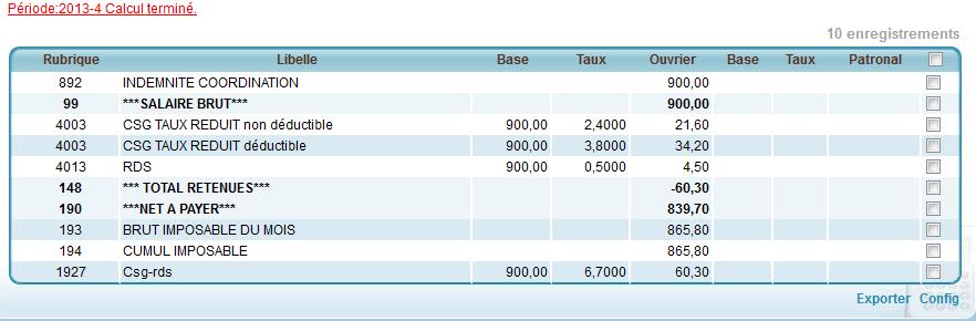 taux et base du bulletin de salaire